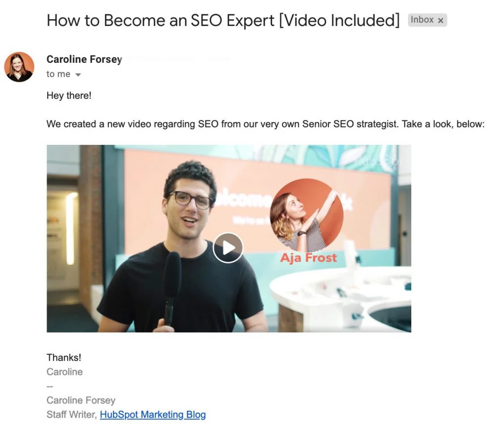 video embedded in email - tips for video marketing strategies
